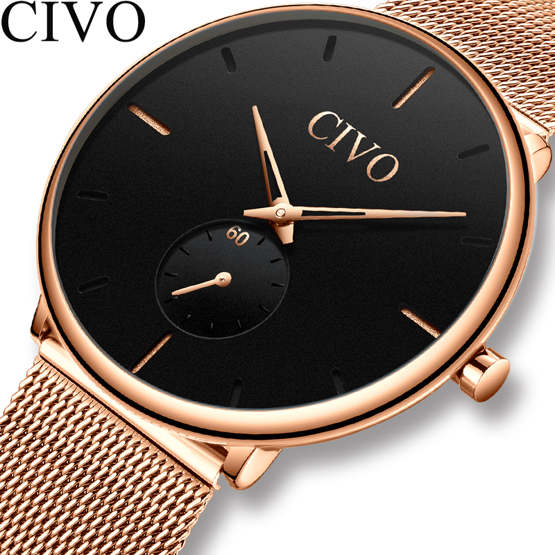 Relogio Masculino CIVO Fashion Mens Watches Top Brand Luxury Rose Gold Steel Mesh Ultra Thin Watches Waterproof Sport Male ClockRelogio Masculino CIVO Fashion Mens Watches Top Brand Luxury Rose Gold Steel Mesh Ultra Thin Watches Waterproof Sport Male Clock