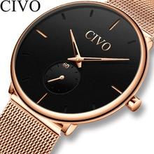 Reloj Masculino CIVO de moda relojes para hombre superior de la marca de lujo de oro rosa de acero de malla de Ultra delgada relojes deporte impermeable reloj Masculino