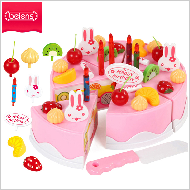 Beiens Kitchen Toys Children Pretend Play Cutting Birthday cake Kids Cutting Fruit Toy 43pcs plastic Food Toy for Baby limited 34pcs children s kitchen toys cutting fruit vegetable plastic drink food kit kat pretend play early education toy for kids