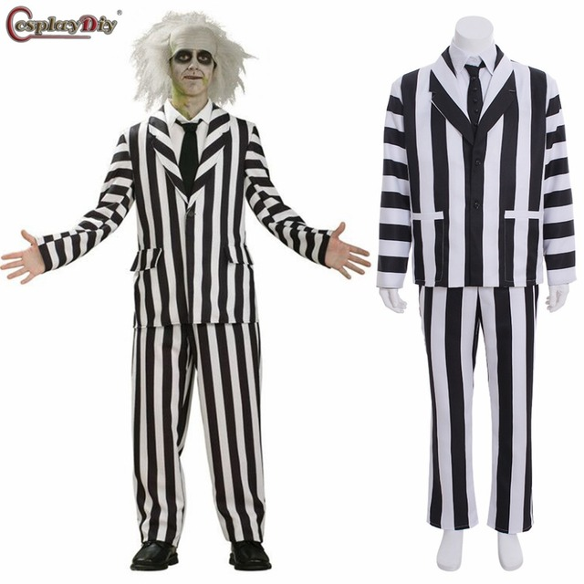 bc2706329f1c4 Cosplaydiy Beetlejuice Cosplay Black White Stripe Suits Adult Man Costume  Halloween Party Outfits Custom Made