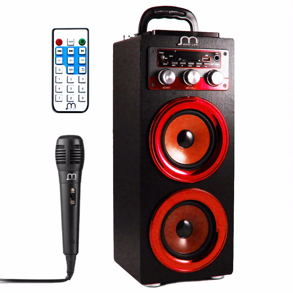 Bluetooth Speaker Karaoke Portable with Microphone FM Radio MP3 High Power Portable Speaker Tower for Party BBQ виниловая наклейка снеговик оранжевый слоник