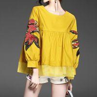 Women Fashion Blouse 2017 European Shirt Spring Autumn Fish Embroidery Sequin Long Puff Sleeve Shirt Loose