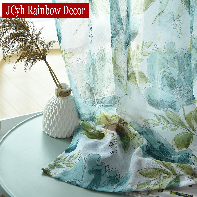Floral Linen Tulle Curtains For Living Room Kitchen Window Sheer Curtains For Bedroom Short Voile Curtain Rideaux Voilage Drapes