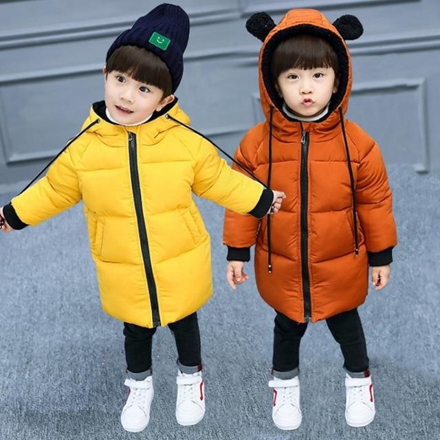 Best Offers Kids Toddler Boys Girls Winter Jacket Coat Children Outwear Cute Ear Baby Girls Down Parkas Snow Wear 2-8 Years TZ364
