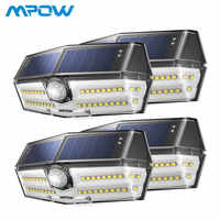 4 Pack 40 luces solares LED Mpow CD182 Sensor de movimiento al aire libre lámpara de Panel Solar de alta eficiencia IP66 Luz Solar led Para Exterior