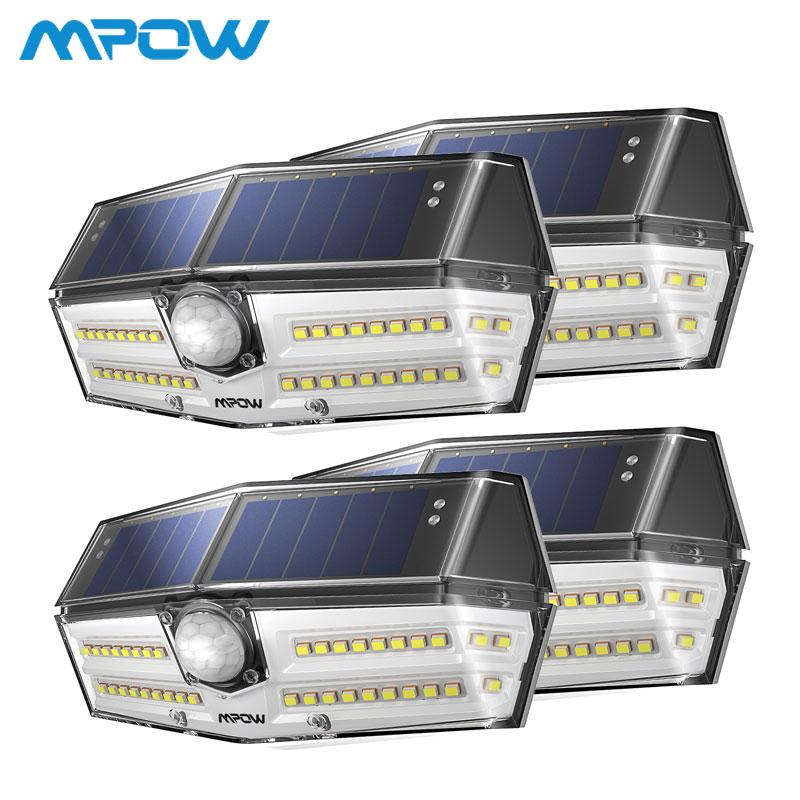 4 pacote 40 luzes solares led mpow cd182 sensor de movimento ao ar livre alto-eficiente painel solar lâmpada ip66 luz solar led para exterior