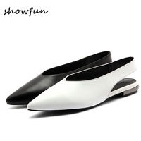 Plus Size Women S Genuine Leather Slingback Flats Sandals Brand Designer Pointed Toe Summer Leisure Comfortable