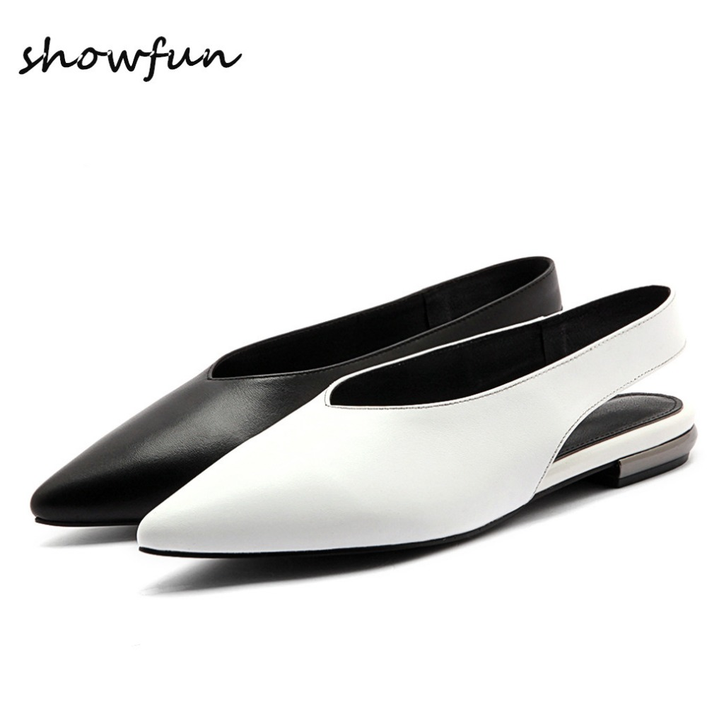 Plus Size Women's Genuine Leather Slingback Flats Sandals Brand Designer Pointed Toe Summer Leisure Comfortable Shoes for Women suede slingback 9 bling black women pointed toe large size summer flats rhinestone sandals ankle strap ladies beautiful shoes