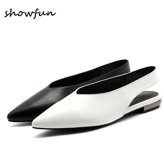 60fe707a23 Plus Size Women's Genuine Leather Slingback Flats Sandals Brand Designer  Pointed Toe Summer Leisure Comfortable Shoes for Women