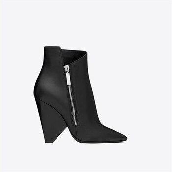 2018 Fashion Trend Spike Heels Pointed Toe Black Ankle Booties Women Shoes High Heels Stilettos Zipper Detail Dress Boots Women