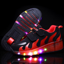 New Popular LED Light Up Roller Skate Shoes Kids Boys Girls Sport Glowing Sneakers with Wheels tenis de rodinha