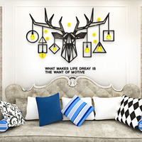 Head of Moose Design Acrylic Stickers Deer Wall Stickers Customized DIY Sticker for Living Room Cafe Shop Office Decoration