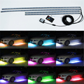 4 unids RGB LED Bajo el Coche Glow Debajo de la Carrocería del Sistema Neon Lights Kit W/sonido y Control de 60 CM + 90 CM
