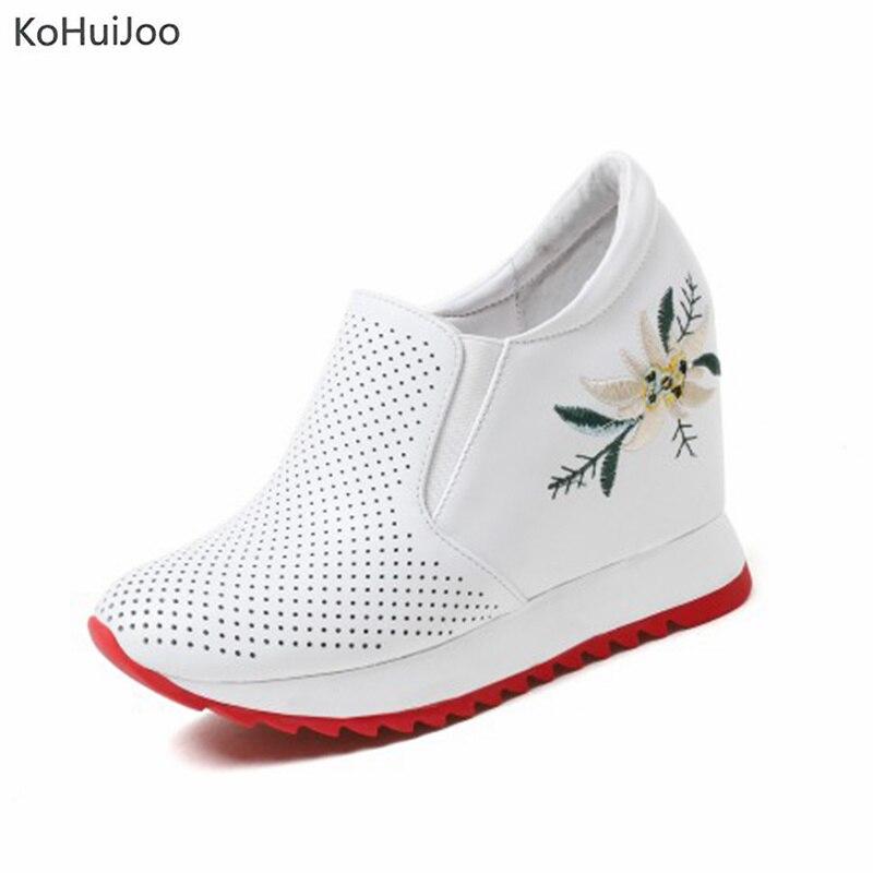 KoHuiJoo Height Increasing Women Platform Sneakers Tenis Feminino Flat Black Shoes Woman Zapatillas Mujer Casual Sapato Feminino women shoes 2017 summer shoes casual shoes women zapatillas mujer casual sapato feminino