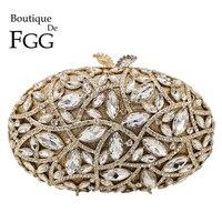 Boutique De FGG Elegant Diamond Evening Bags Wedding Minaudiere Handbags and Purses Women Crystal Clutch Formal Dinner Bag