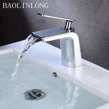 Brass Basin Bathroom Waterfall Faucets Tap Deck Mount Vanity Vessel Sinks Bath Mixer Faucet стоимость