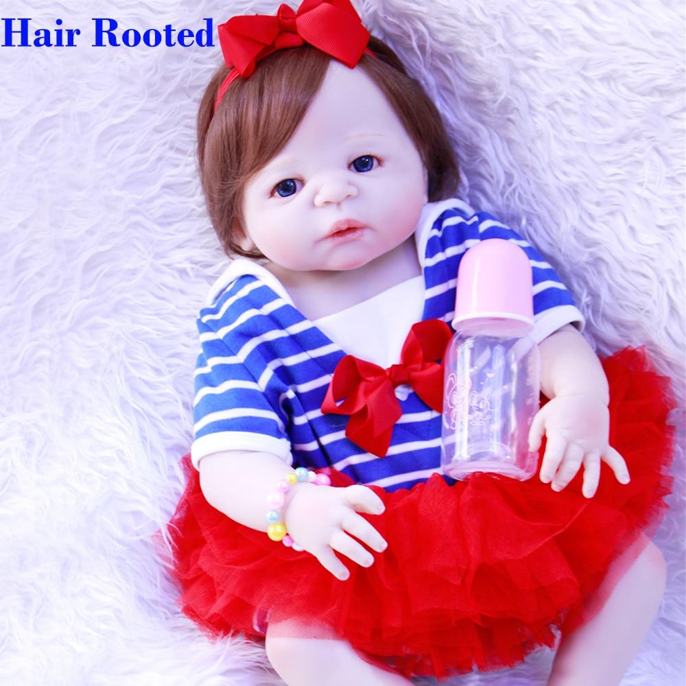 """NPK marca bambole reborn 23 """"corpo pieno di silicone bambino rinato bambole giocattolo regalo bebes reborn com corpo de silicone menina bonecas-in Bambole da Giocattoli e hobby su  Gruppo 1"""
