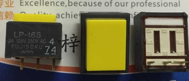 [VK] JAPAN FUJISOKU LP1W-16S-Y light touch switch 19*15MM rectangle reset button 3 feet LP-16S 3A125V.250VAC yellow button