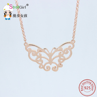 Rose Golden Butterfly Pendant Necklace For Women Fine Jewelry 925 Silver Necklace Chain Choker Collier Sweet