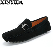 Купить с кэшбэком High Quality Genuine Leather Men Loafers Fashion Slip-on Driving Shoes Men Moccasin Boat Shoes Causal Flats Men Shoes Size 38-44