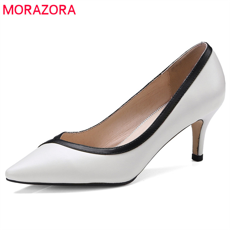 MORAZORA 2018 genuine leather pumps women shoes pointed toe summer shoes elegant shallow mixed colors high heels dress shoes 2018 new arrivel genuine leather slip on platform shoes women pumps mixed colors high heels round toe elegant casual shoes l26