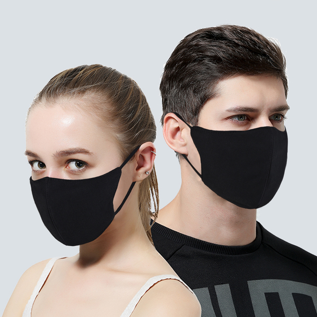 3Pcs Women Black Bilayer Cotton Mouth Mask Anti Haze Dust Washable Reusable Double Layer Dustproof Mouth-muffle Winter Warm Mask 5