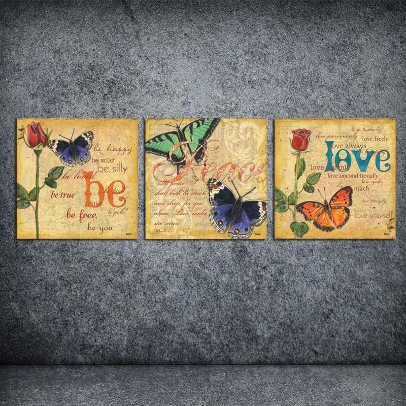 웃 유3 Pcs Abstract About Love Yourself Oil Painting Print