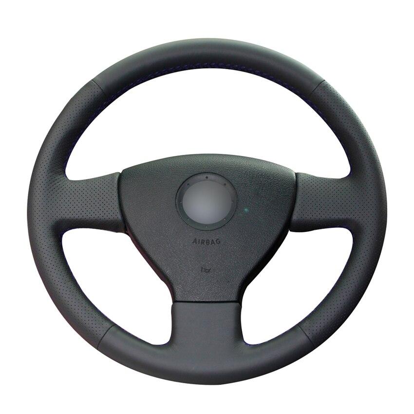 Сшитые вручную черные чехлы из искусственной кожи на руль для Volkswagen VW Golf 5 (V) Golf Plus Polo Jetta Tiguan