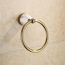 Золото кольцо для полотенца твердая латунь медь золотой Готовые Аксессуары для ванной комнаты продукты, Держатель для полотенца, крючок