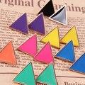 Frete Grátis r $10 (ordem da mistura) de Moda de Nova Impressionante-Doce colorido Brincos Geométrica Triângulo Do Vintage Jóias E072