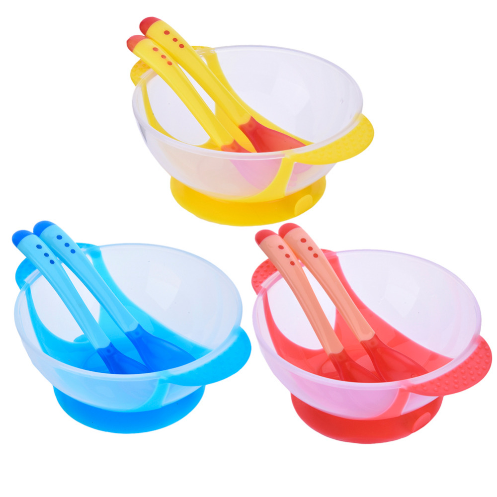 Baby Food Bowl Learning Dishes Feeding Bowl Set 3pcs Assist Bowl  +Temperature Sensing Spoon+ Fork Baby Tableware Solid Feeding