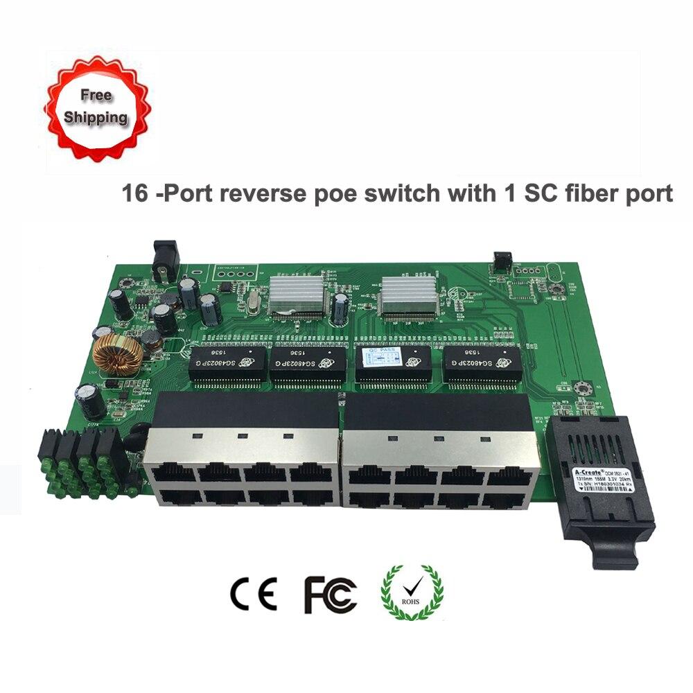 Livraison gratuite commutateur ethernet poe inversé 16 ports avec 1 Port fibre sc (1-15pd) commutateur rrepd de carte PCB