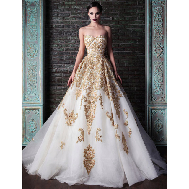 2015 Strapless Long Evening Gowns Gold Applique Beads White Tulle ...