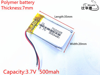Free shipping Liter energy battery 3.7V 500mAh 702035 Lithium Polymer Rechargeable Battery Accumulator Li ion lipo cell image