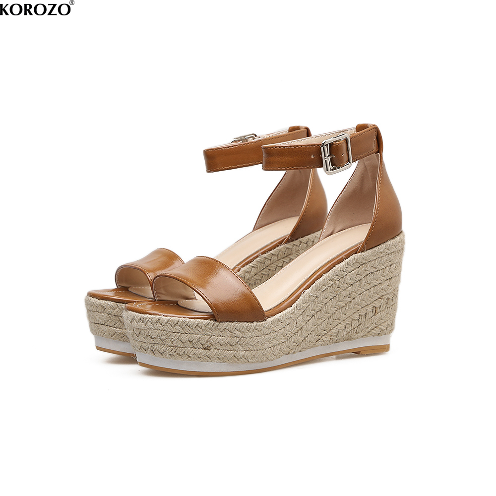 2018 Women Wedge Espadrilles Sandals Summer Platform Ankle Buckle Shoes 9.5 CM High Hemp Wedges Heels Cover Heel phyanic 2017 gladiator sandals gold silver shoes woman summer platform wedges glitters creepers casual women shoes phy3323