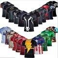 Marvel Super Heroes Vengador Capitán América Batman T shirt Hombres Armadura de Capa Base de Compresión Térmica Bajo Causal Shirt