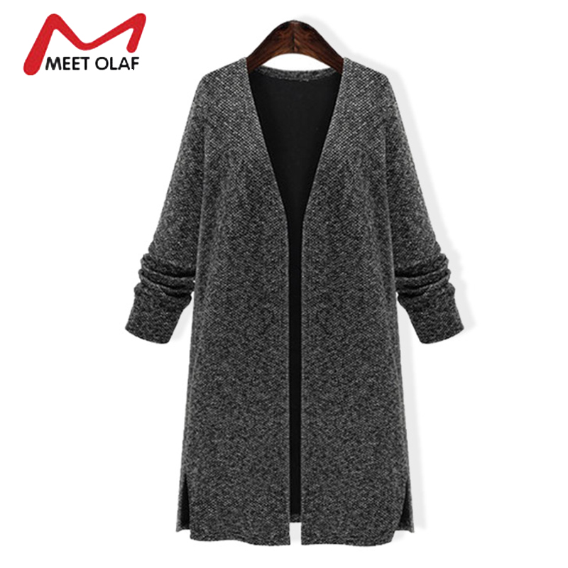 2017 Women Knitted Sweaters Cardigans Female Solid Gray Long Sleeve Spring Autumn Ladies Knitting Coats plus size 5XL Y1211
