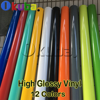 High Glossy Vinyl Car Wrap Auto Clothes Styling Sticker Ultra Gloss Wrap Film with Air Bubble Black Silver Gold Red 12 Colors