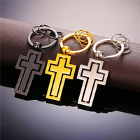 New Brand 2 Double Cross Metal Keychain Pendant Key Chain Fashion Gold Plated Rotated Cross Men