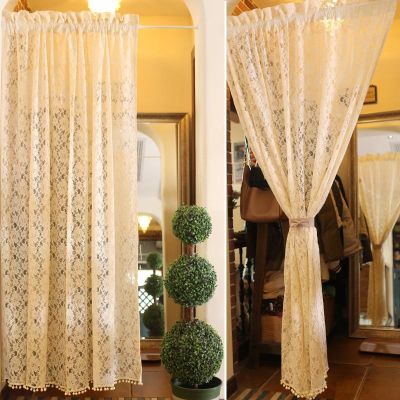 US $30.0 |Stile coreano Beige Pizzo Floreale Guardaroba Decorativa Breve  Tenda Camera Da Letto/soggiorno PartitionCurtain130 * 180 centimetri di ...