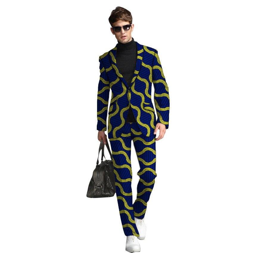 New Arrivals African Print Suits Men Ankara Fashion Man Pant Suits Male Street Wear Blazer With Trouser 2 Pieces Set