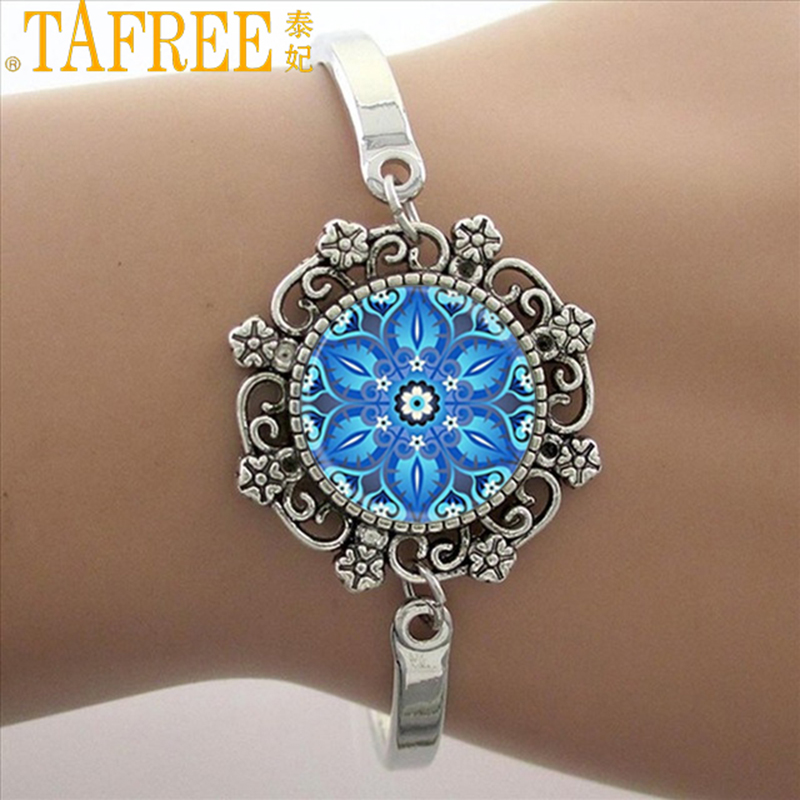 TAFREE Blue Mandala Art Picture Bracelet Hot Fashion Silver Plated Bracelet & Bangle For Men Women Yoga Zen Jewelry Gifts HT011