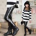 Otoño Invierno Ropa Niñas de Terciopelo Leggings Letras Coreanas Caliente del Ocio de Los Niños Pantalones Niños Pantalones de Cuero de LA PU Negro Espesar