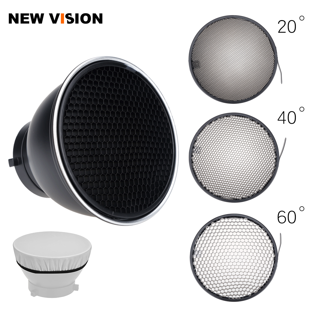 7inch 18cm Standard Reflector Diffuser with 20 40 60 Degree Honeycomb Grid for Bowens Mount Studio