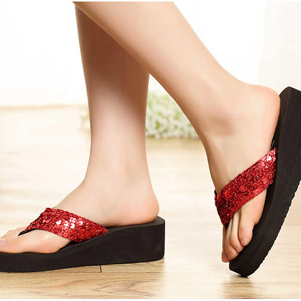Payetler kadın rahat ayakkabılar plaj terlikleri Flip flop platformu kadın takozlar kadın sandalet platformu Flip flop ayakkabı kadın #30