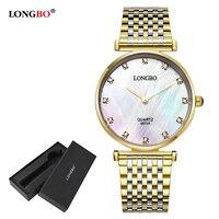 LONGBO Brand 2017 Quartz Wrist Watches Fashion Watches Women Casual Dress Luxury Gold Ladies Rhinestone Waterproof
