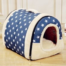 Pet Dog House Nest With Mat Foldable Pet Dog Bed Cat Bed House For Small Medium Dogs Travel Kennels For Cats Pet Products(China)