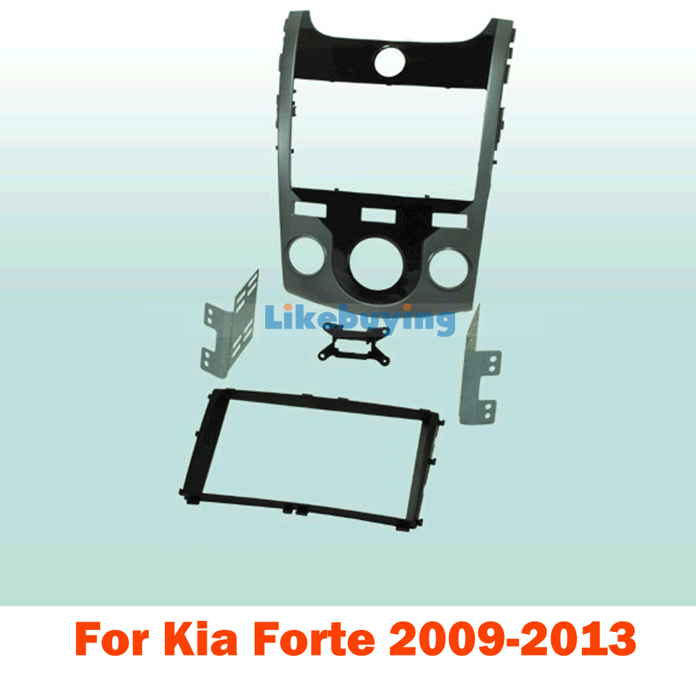 177*99.6mm 2 Din Car Frame Dash Kit / Car Fascias for Kia Forte 2009 2010 2011 2012 2013 Round Air Conditioning Hole 2 din car dvd frame dashboard kits front bezel radio frame adaper dvd cover dash trim kit for kia rio 5 door rhd double din
