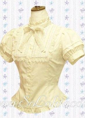 Lolita Bowtie Puff Sleeves Cotton Blouse