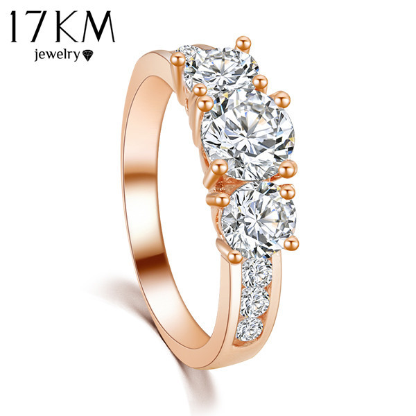 17KM New Hot Fashion Luxury High quality Rose Gold Color Crystal Ring Engagement